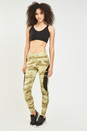 Camouflage Contrast Sports Leggings