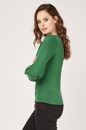 Contrasted Rib Knit Top