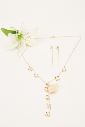 Faux Pearl Embellished Necklace And Earrings Set