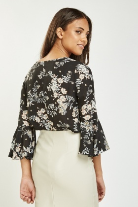 Flare Sleeve Sheer Blouse