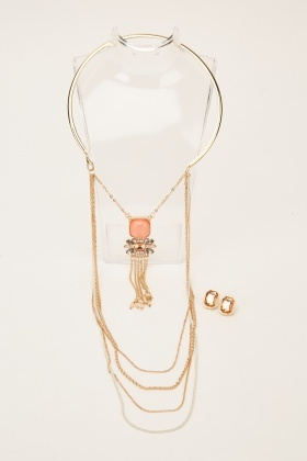 Layered Chained Embellished Necklace And Earrings Set