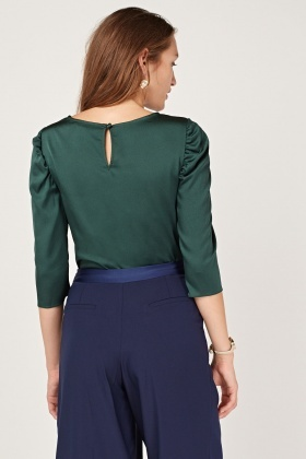 Ruched Sleeve Dark Green Blouse