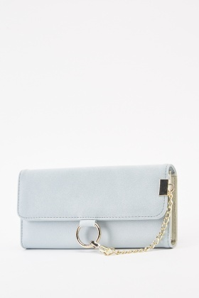 Chain Trim Faux Leather Purse