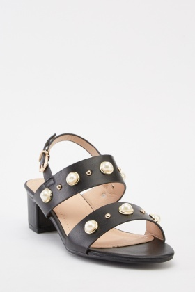 Faux Pearl Trim Sandals