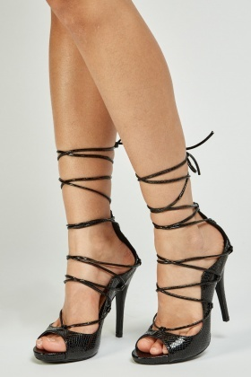 PVC Tie Up Heeled Sandals