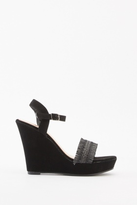 Straw Trim Heeled Wedges