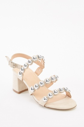Studded Scallop Suedette Sandals