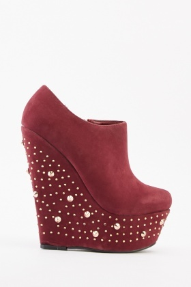 Studded Wedge Platform Ankle Boots