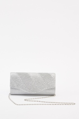 Textured Lurex Clutch Bag