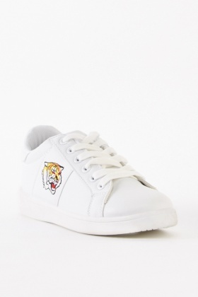 Tiger Embroidered Plimsolls