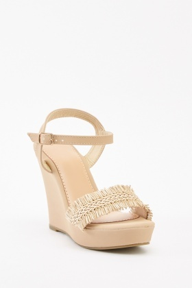 Weave Straw Trim Wedges