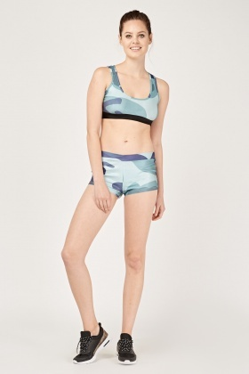 Camo Print Sports Bra And Shorts Set