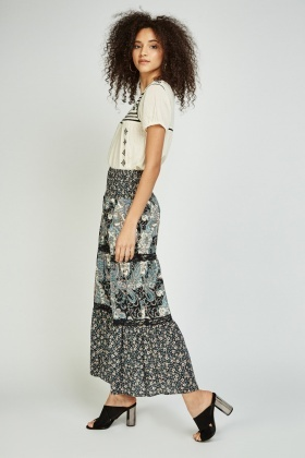 Ethnic Printed Maxi Skirt