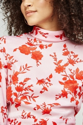 Floral Silky Turtle Neck Top