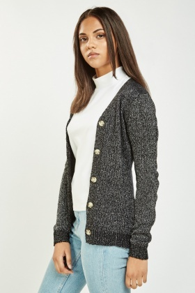 Metallic Herringbone Knit Cardigan