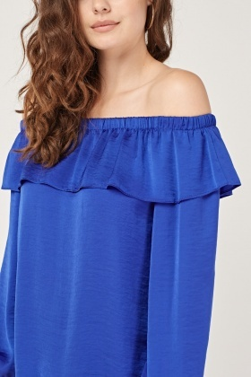 Off Shoulder Ruffle Overlay Top