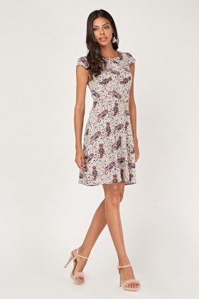 Paisley Print Cap Sleeve Dress