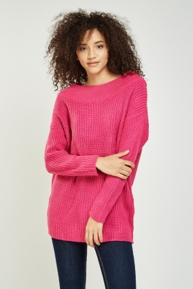 Ribbed Casual Knitted Jumper