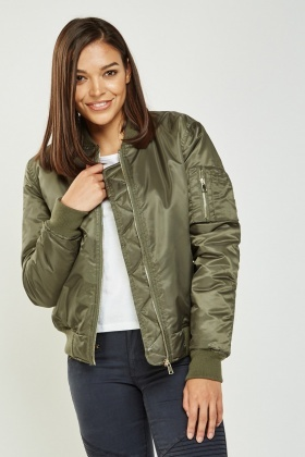 Basic Cropped Bomber Jacket
