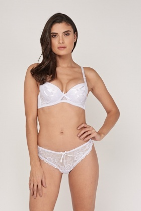 Contrast Padded Bra And Brief Set