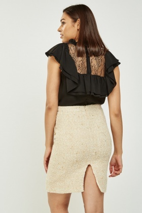 Frilly Lace Insert Shell Top