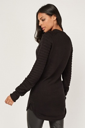 Ribbed Knit Sleeve Jumper