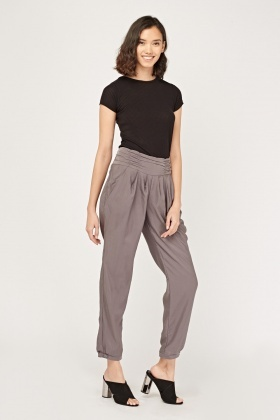Ruched Waist Tapered Trousers