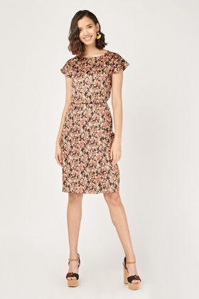 Ditsy Floral Wrap Hem Dress