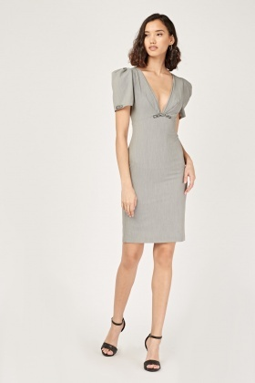 Encrusted Low Plunge Pencil Dress