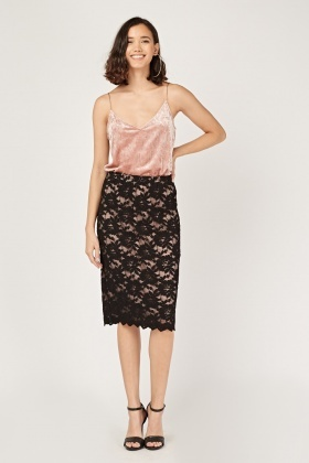 Floral Lace Overlay Midi Skirt