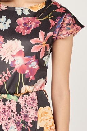Floral Print Wrap Hem Dress