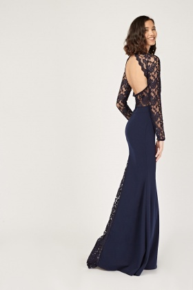 Lace Overlay Open Back Maxi Dress