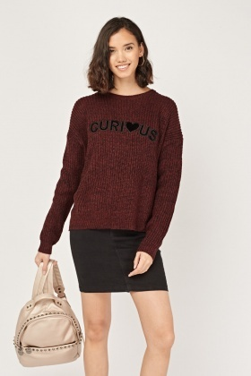 Logo Front Chunky Knit Jumper
