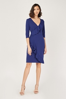 Ruffle Overlay Midi Wrap Dress