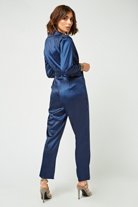Sateen Wrap Tie Up Jumpsuit