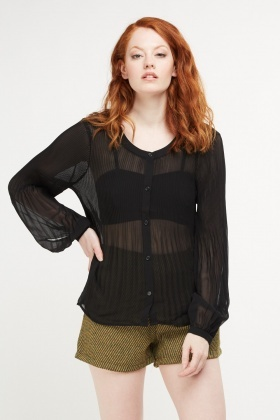 Sheer Pleated Black Blouse