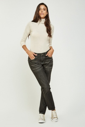 Straight Leg Denim Black Jeans