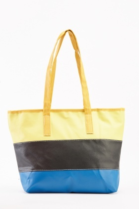 Colour Block Faux Leather Tote Bag