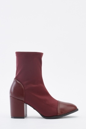Contrast Faux Leather Ankle Boots