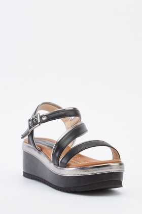 Contrast Wedge Sandals