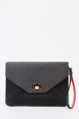 Envelope Contrast Clutch Bag