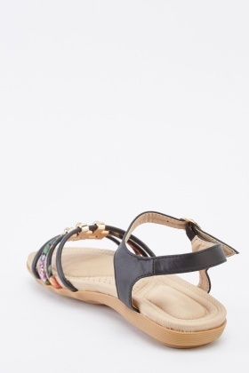 Front Detailed Faux Leather Sandals