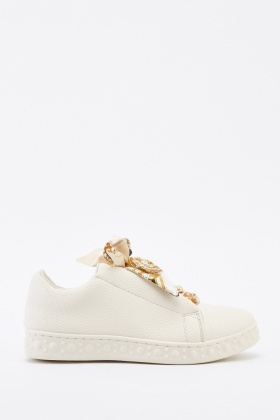 Scarf Lace Up Low Top Trainers