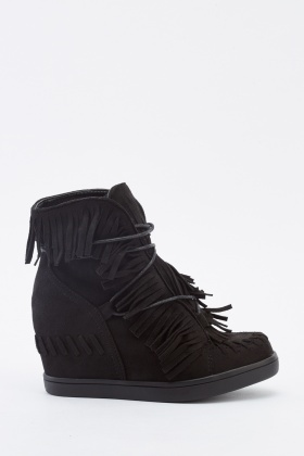 Suedette Fringed Wedged Boots
