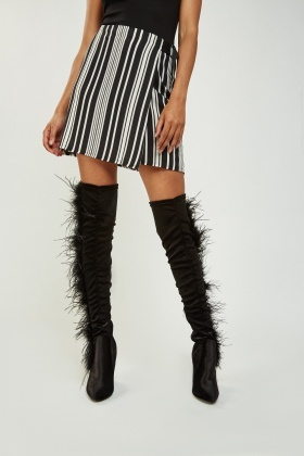 Velveteen Feather Trim Knee High Boots