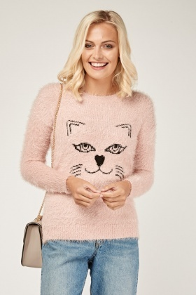 Cat Front Eyelash Knit Jumper