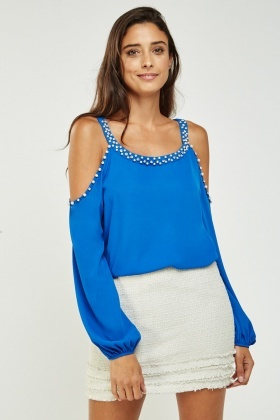 Embellished Trim Sheer Top