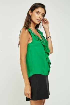 Frilled Detailed Neck Top