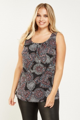 Ornate Sleeveless Printed Top