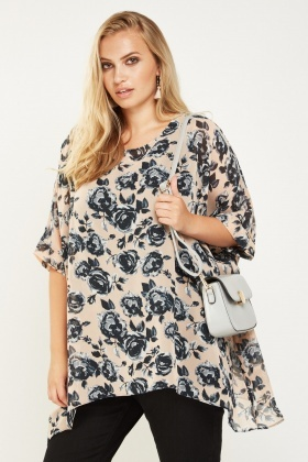Rose Printed Sheer Box Top